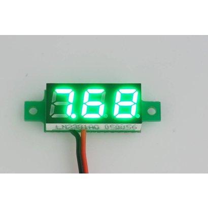 """Mini Voltmeter Groen, 2 Draads 3 tot 30 Volt DC 0.28"""""""