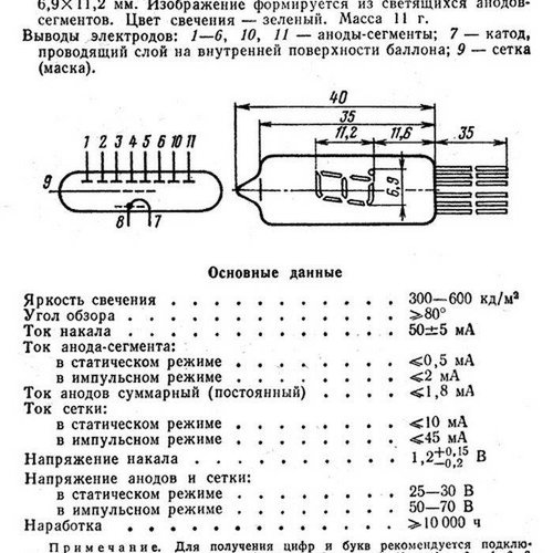 Nixie IV-6 (ИВ-6) VFD Buis, Post USSR, Vintage