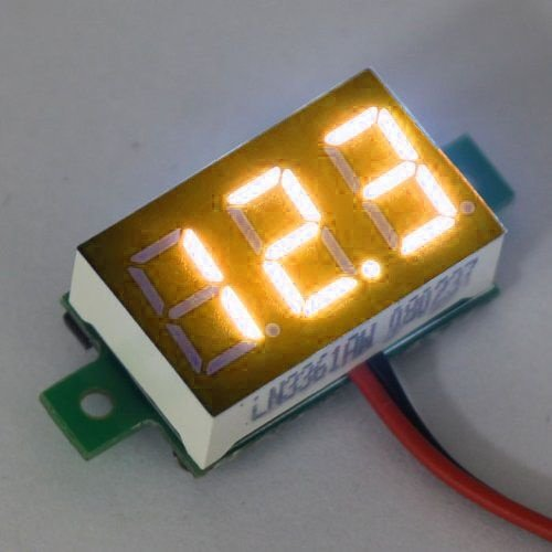 "Mini Voltmeter Geel 3 t/m 30 Volt DC 0.36"""