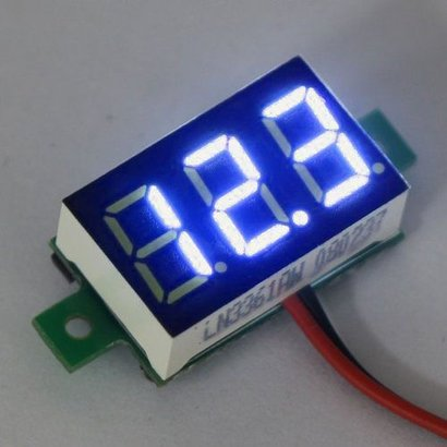"Mini Voltmeter Blauw 3 t/m 30 Volt DC 0.36"""