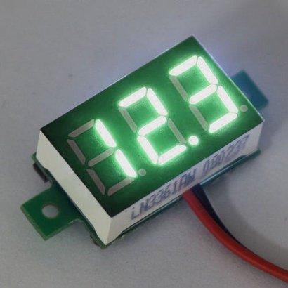 """Mini Voltmeter Groen 3 t/m 30 Volt DC 0.36"""""""