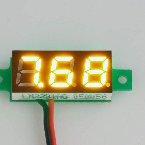 """Mini Voltmeter Geel, 2 Draads 3 tot 30 Volt DC 0.28"""""""