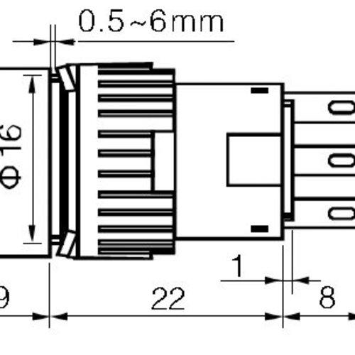Sleutel schakelaar 3 standen DPDT Spoor 1: OFF- ON -ON, Spoor 2: ON -ON - OFF