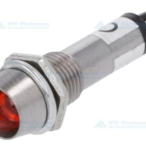 LED Indicator Rood 12V, met metalen houder en geïntegreerde weerstand
