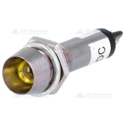 LED Indicator Geel 12V, met metalen houder en geïntegreerde weerstand