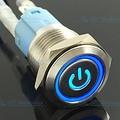 Drukschakelaar Latching met Verlicht logo en ringverlichting Blauw