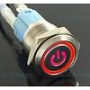 Drukschakelaar Latching met Verlicht logo en ringverlichting Rood