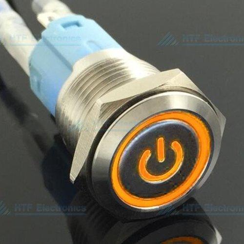 Drukschakelaar Latching met Verlicht logo en ringverlichting Oranje