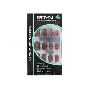 24 Glue-On Nail Tips - Mocca (met nagellijm)