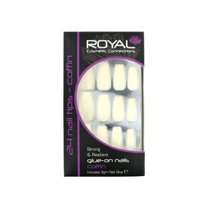 24 Coffin Glue-On Nail Tips - Natural (met nagellijm)