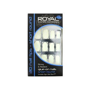 30 Short Round Glue-On Nail Tips - Natural (Mit Nagelkleber)