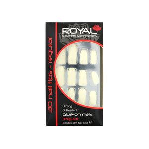 30 Glue-On Nail Tips - Natural (Mit Nagelkleber)