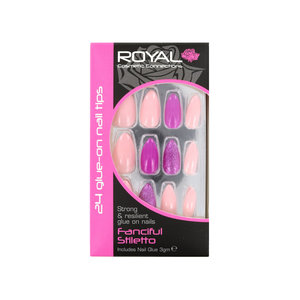 24 Stiletto Glue-On Nail Tips - Fanciful