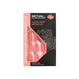 24 Glue-On Nail Tips - Coral Reef Almond