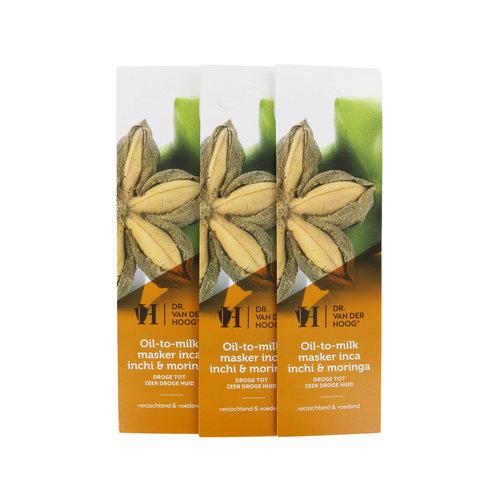 Dr. van der Hoog Öl-zu-Milch-Maske Inchi & Moringa - Trockene bis sehr Trockene Haut (3 Stück)