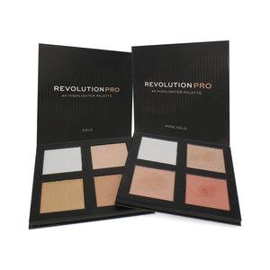 2 x Revolution 4K Highlighter Palette - Gold-Rose Gold (Box mit Kratzern)