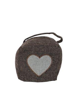 Bruine stoffen kubusvormige deurstopper hart