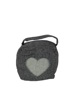 Grijze  stoffen kubusvormige deurstopper hart