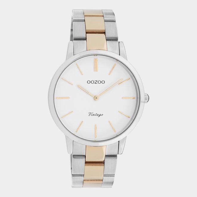 Next Generation - unisex - stainless steel armband zilver-rosé goud met zilver horlogekast