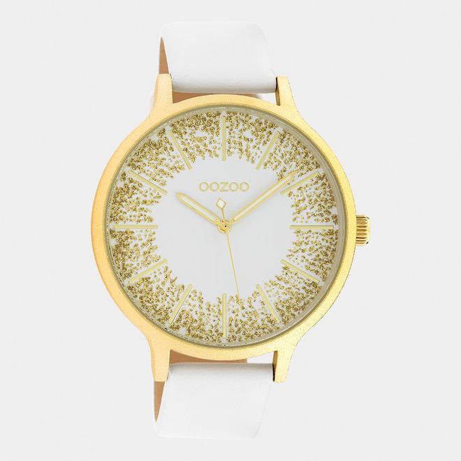 OOZOO Timepieces - dames - leren band wit met goud horlogekast