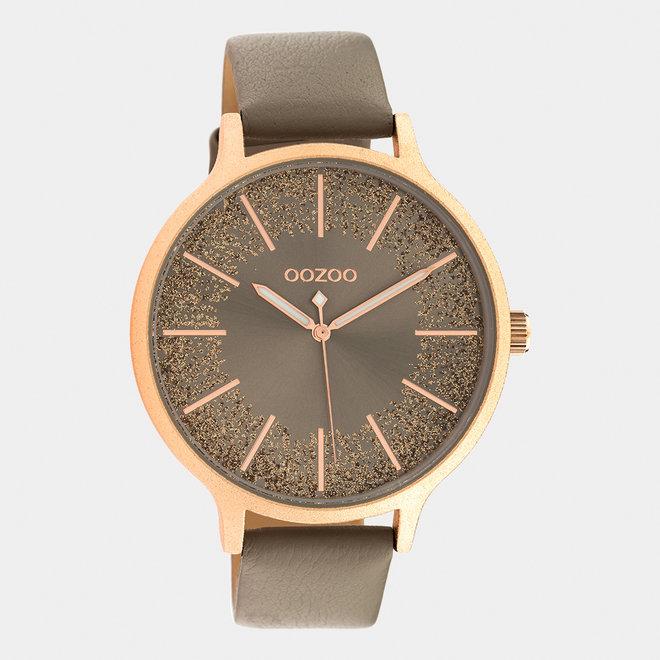 OOZOO Timepieces - femmes - bracelet en cuir taupe met or rose horlogekast