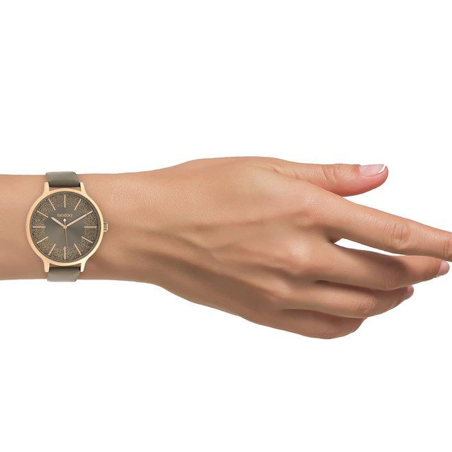 OOZOO Timepieces - dames - leren band taupe met roségoud horlogekast