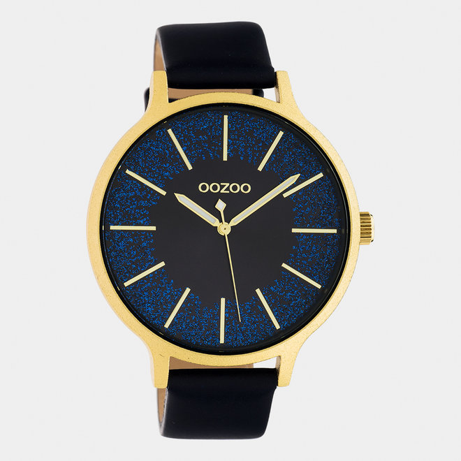 OOZOO Timepieces - dames - leren band donker blauw / goud