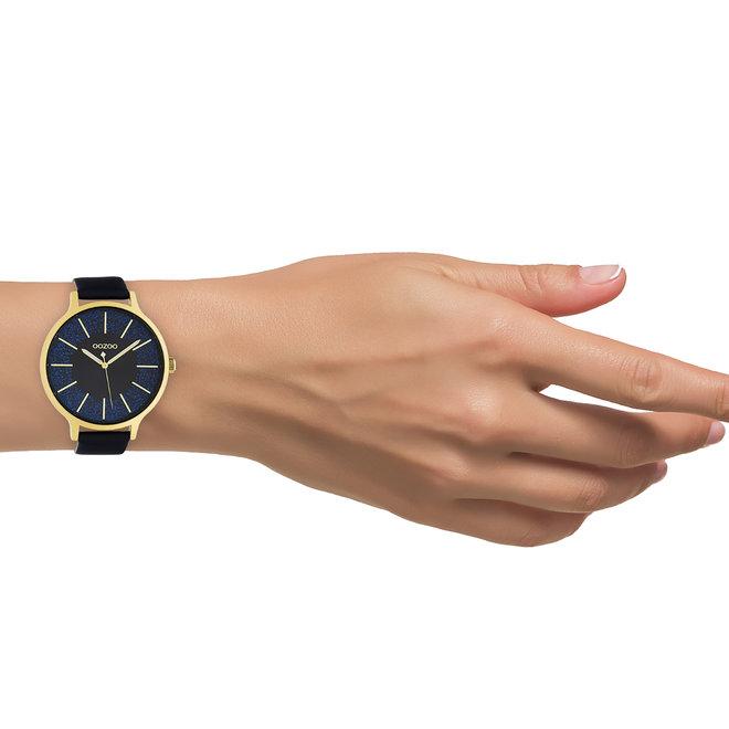 OOZOO Timepieces - dames - leren band donker blauw met goud horlogekast