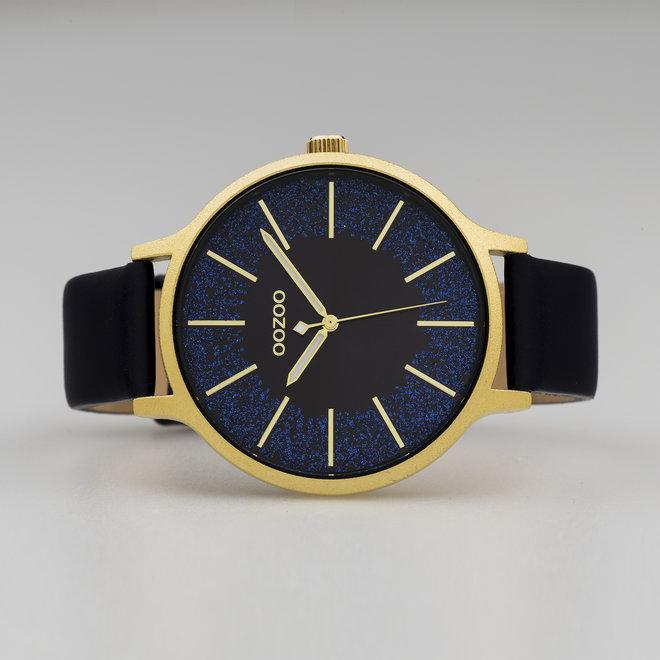 OOZOO Timepieces - femmes - bracelet en cuir bleu foncé met or horlogekast