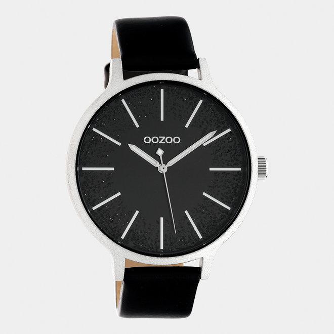 OOZOO Timepieces - dames - leren band zwart / zilver