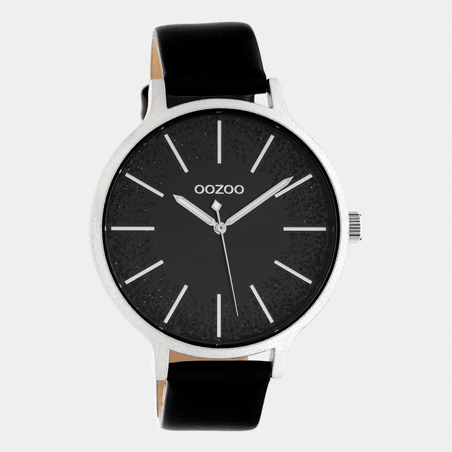OOZOO Timepieces - ladies - leather strap black / silver