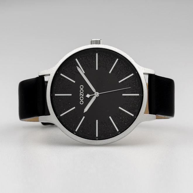 OOZOO Timepieces - dames - leren band zwart met zilver horlogekast