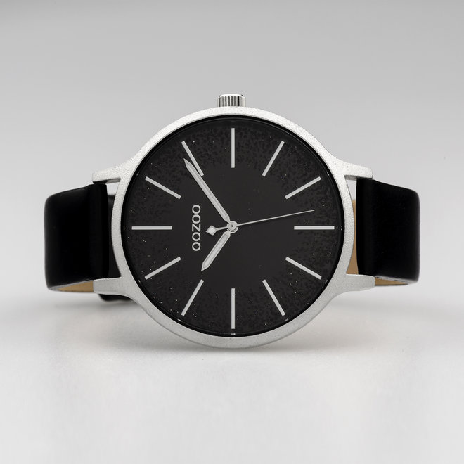OOZOO Timepieces - ladies - leather strap black with silver watch case