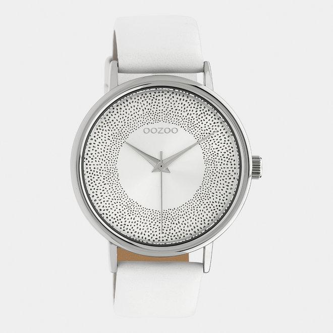 OOZOO Timepieces - dames - leren band wit / zilver
