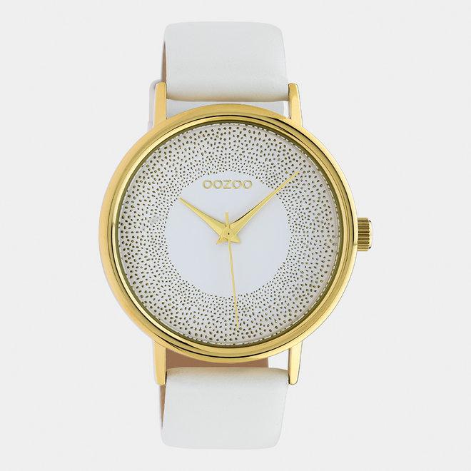 OOZOO Timepieces - femmes - bracelet en cuir blanc / or