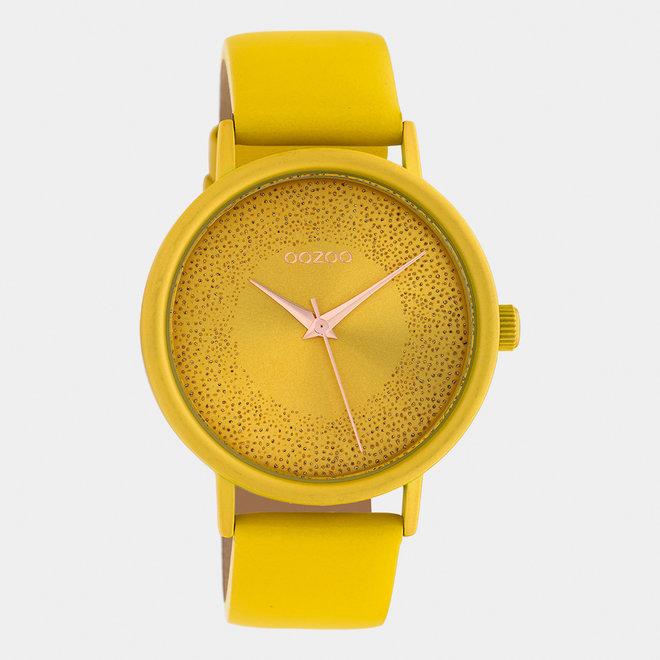 OOZOO Timepieces - dames - leren band mosterd / mosterd