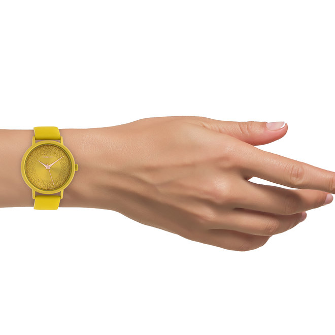OOZOO Timepieces - femmes - bracelet en cuir jaune moutarde met jaune moutarde horlogekast