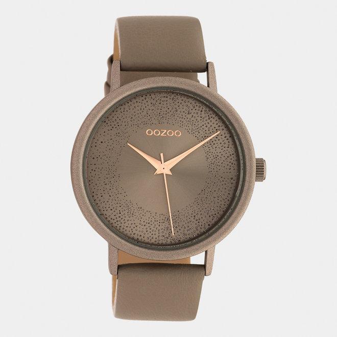 OOZOO Timepieces - dames - leren band taupe met taupe horlogekast