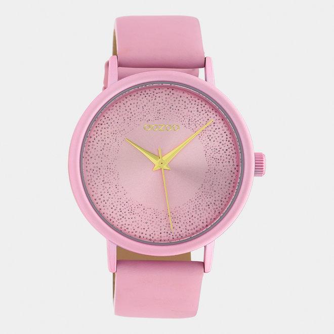 OOZOO Timepieces - femmes - bracelet en cuir rose tendre / rose tendre