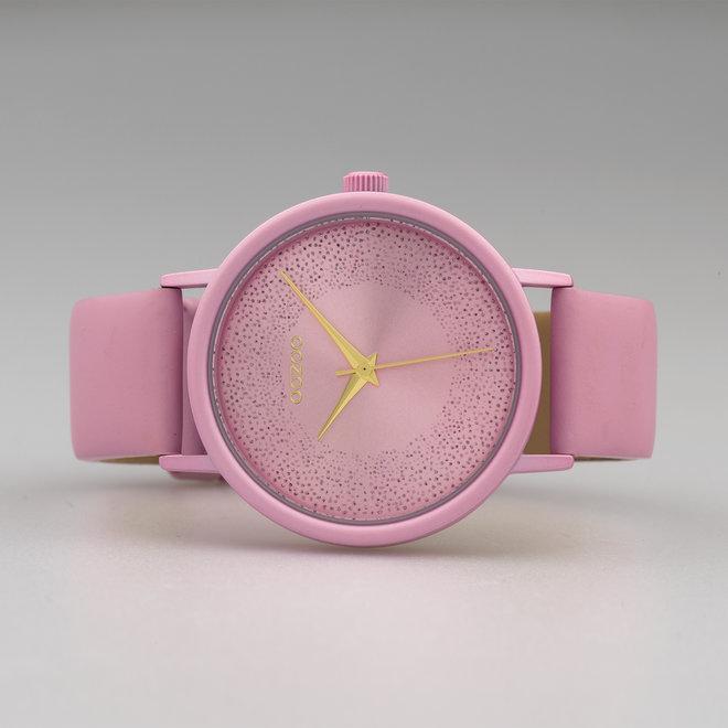 OOZOO Timepieces - femmes - bracelet en cuir rose tendre met rose tendre horlogekast