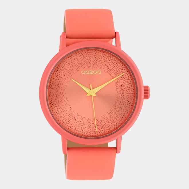 OOZOO Timepieces - dames - leren band perzik roze / perzik roze