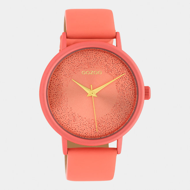 OOZOO Timepieces - ladies - leather strap peach pink / peach pink
