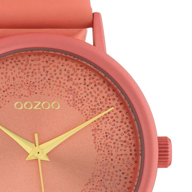 OOZOO Timepieces - dames - leren band perzik roze met perzik roze horlogekast