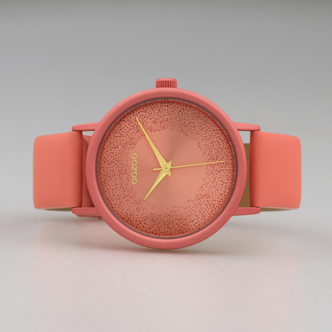OOZOO Timepieces - ladies - leather strap peach pink with peach pink watch case