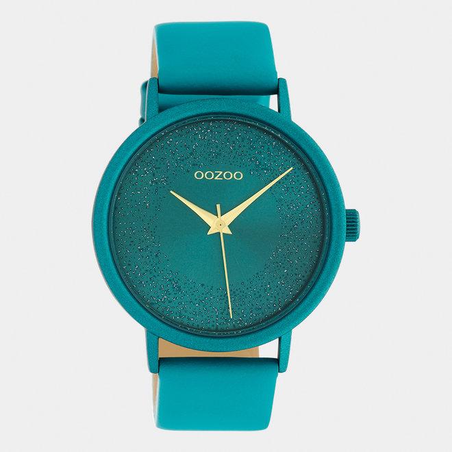 OOZOO Timepieces - dames - leren band viridian groen / viridian groen