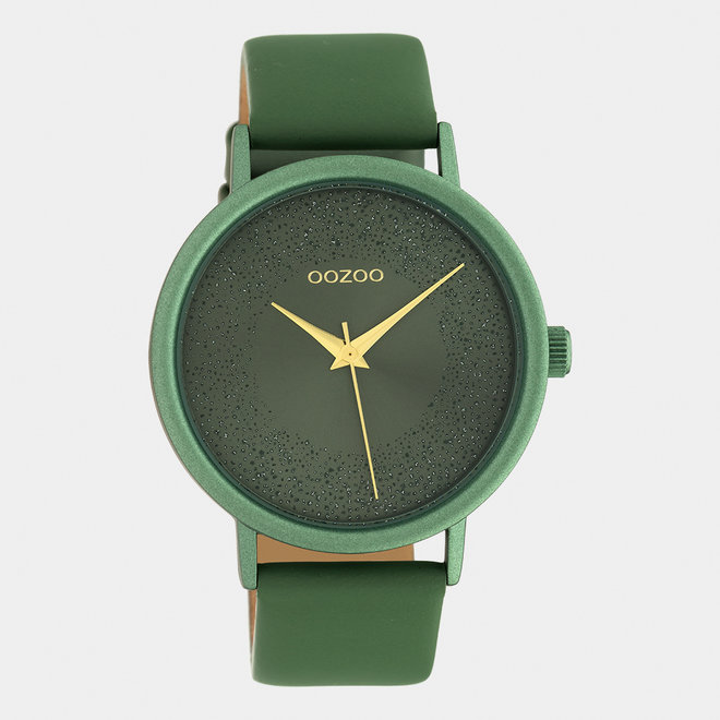 OOZOO Timepieces - ladies - leather strap lilly pad green / lilly pad green