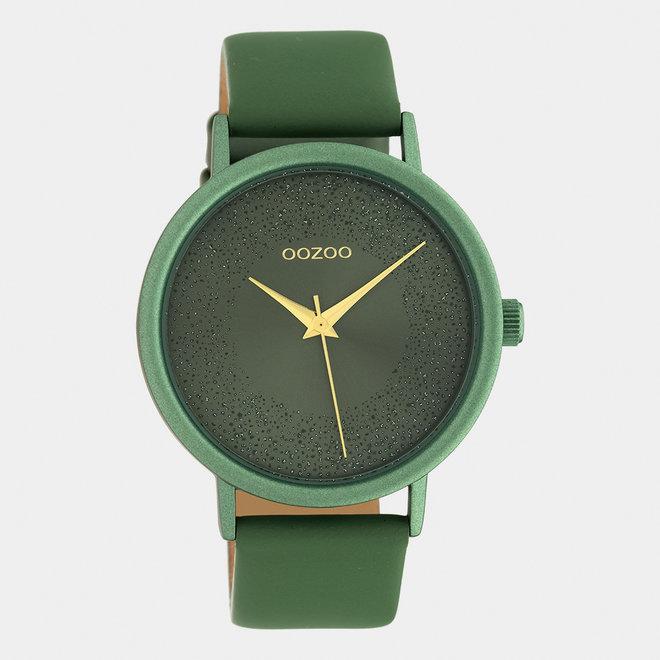 OOZOO Timepieces - dames - leren band waterlelie groen met waterlelie groen horlogekast