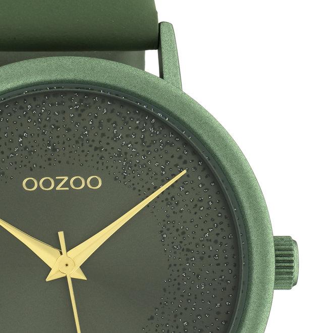 OOZOO Timepieces - femmes - bracelet en cuir vert nénuphar met vert nénuphar horlogekast