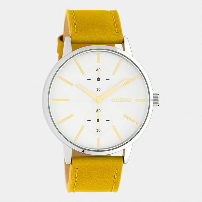 OOZOO Timepieces - unisex - leather strap mustard / silver