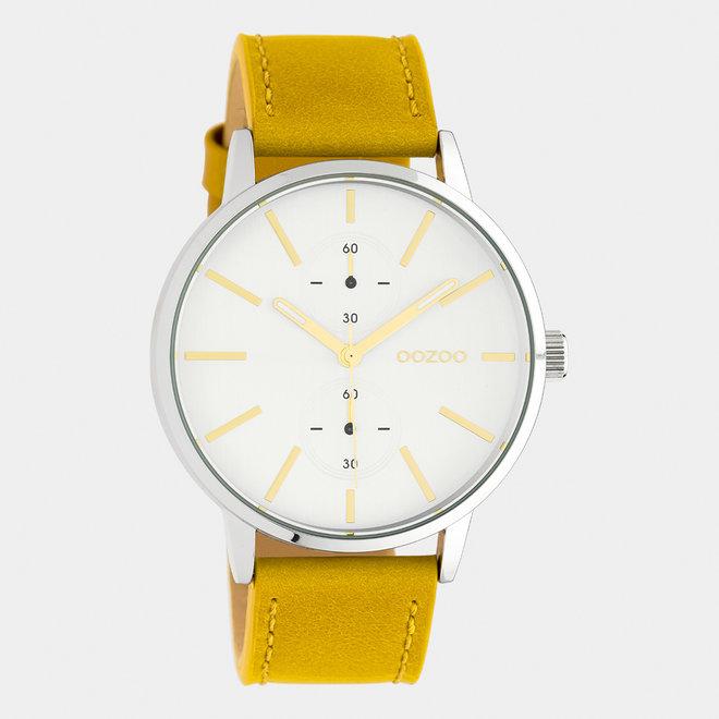 OOZOO Timepieces - unisexe - bracelet en cuir jaune moutarde / argent